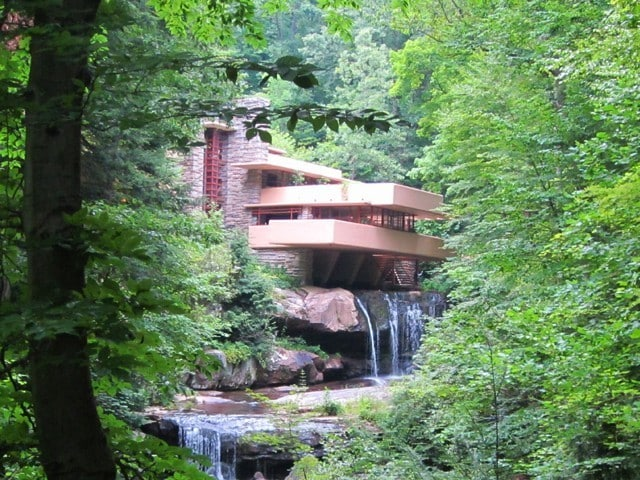 "Iconic view of Frank Lloyd Wright's ""Falling Water"""