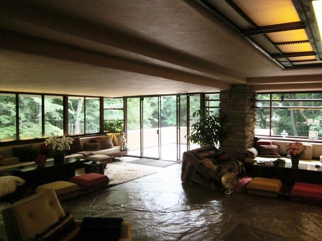 Low ceilings throughout the residence are a signature of Frank Lloyd Wright